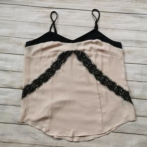 Two Tone Camisole with Lace Trim Detail